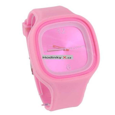 Silikonové hodinky Stylish Square růžové 5e963a301d9